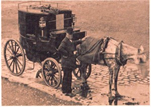 "A Clarence carriage or ""growler"" cab, London, mid-1800s"
